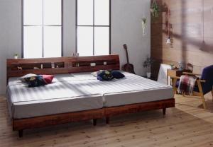 ベッド ダブル 新作続 すのこベッド ダブルベッド 日本製 ウォルナットブラウン 棚 コンセント レギュラー ボンネルコイル マットレス付き
