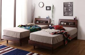 ベッド シングル すのこベッド 2020 テレビで話題 シングルベッド ウォルナットブラウン コンセント 棚 マットレス付き 国産ポケットコイル