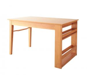 ダイニングテーブル おしゃれ 幅120-180 3段階伸縮 収納ラック付き