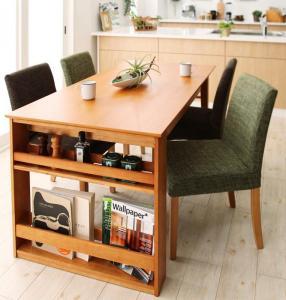 ダイニングテーブルセット 4人掛け おしゃれ 3段階伸縮 収納ラック付き 5点セット(テーブル幅120-180/チェア4脚)