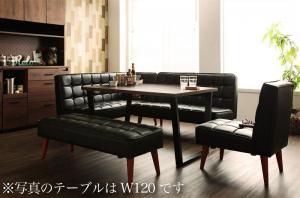 ダイニングテーブルセット 7人掛け 5点セット(テーブル幅150+ソファ+アームソファ+チェア1脚+ベンチ) 左アームタイプ ヴィンテージスタイル おしゃれ