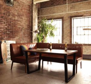 ダイニングテーブルセット 4人掛け 3点セット(テーブル幅120+ソファ+アームソファ) 左アームタイプ アメリカンヴィンテージ おしゃれ