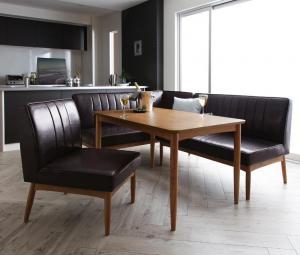 ダイニングテーブルセット 5人掛け 4点セット(テーブル幅120+ソファー+アームソファー+チェア1脚) 左アームタイプ モダン おしゃれ