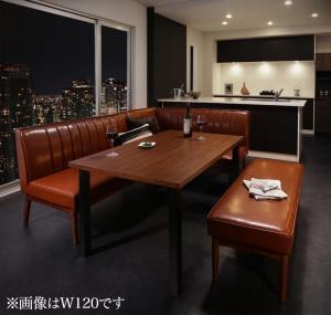 ダイニングテーブルセット 6人掛け 4点セット(テーブル幅150+ソファ+アームソファ+ベンチ) 右アームタイプ ウォールナット モダン おしゃれ