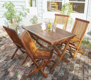 ガーデンテーブルセット おしゃれ 5点セット(テーブルW120+肘なしチェア4脚) チーク天然木 折りたたみ式 リビングガーデン家具