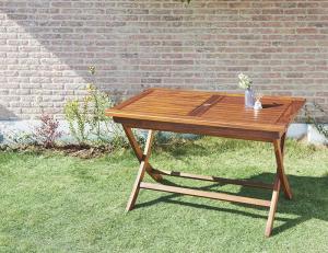 ガーデンテーブル おしゃれ W120 チーク天然木 折りたたみ式 リビングガーデン家具