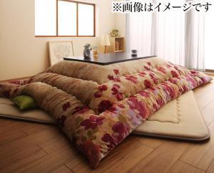 こたつ布団セット 正方形(80×80cm)対応 おしゃれ ふっくらボリューム日本製マイクロファイバー水彩タッチ花柄 掛敷き布団&上掛け3点セット