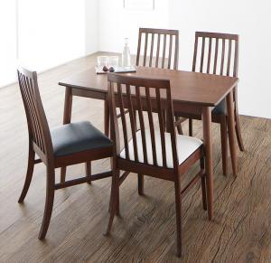 ダイニングテーブルセット 4人掛け おしゃれ 5点セット(テーブル幅115+チェア4脚) ウォールナット材 ハイバックチェアダイニングセット