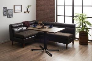 ダイニングテーブルセット 4人掛け おしゃれ 3点セット(テーブル幅100+2Pソファ2脚) 右アームタイプ ヴィンテージカフェスタイル ダイニングソファーセット