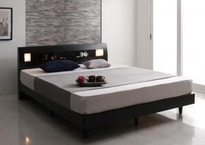 すのこベッド ダブルベッド マットレス付き マルチラススーパースプリング 照明・コンセント・すのこベッド
