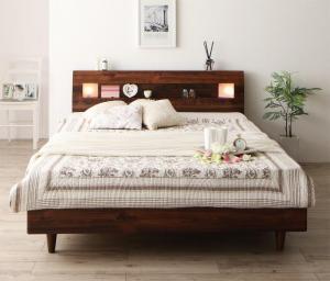 すのこベッド ダブルベッド マットレス付き ボンネルコイル(ハード) 照明・コンセント・すのこベッド