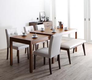 ダイニングテーブルセット 6人掛け おしゃれ 6点セット(テーブル幅135-235+チェア4脚+ベンチ1脚) モダンデザイン スライド伸縮テーブル ダイニングベンチセット