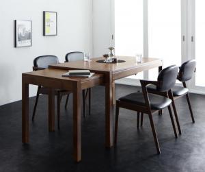 ダイニングテーブルセット 4人掛け おしゃれ 5点セット(テーブル幅135-235+チェア4脚) モダンデザイン スライド伸縮テーブル ダイニングセット