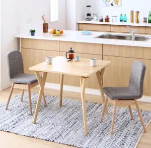 ダイニングテーブルセット 2人掛け おしゃれ 3点セット(テーブル幅80+チェア2脚) やさしい色合いの北欧スタイル ソファベンチ ダイニングセット