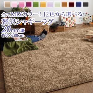 シャギーラグ 厚手 ミックス おしゃれ 190×280cm 約3畳サイズ マイクロファイバーシャギーラグ
