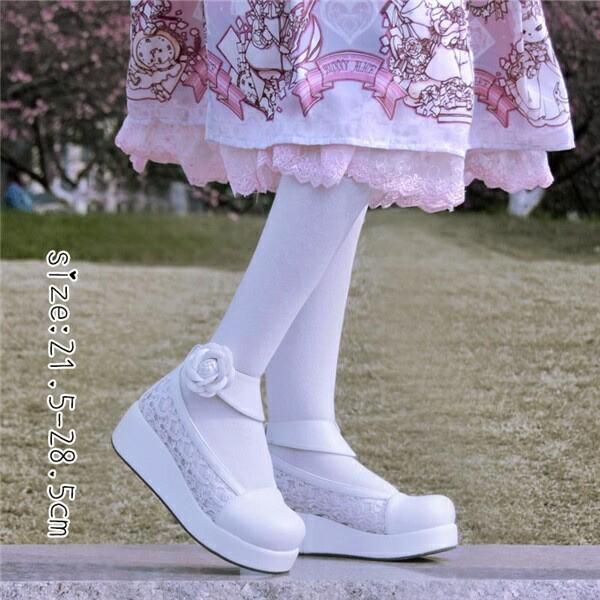 【期間限定!マスクプレゼント中】【受注生産】レディース ロリータ靴 厚底 メイド靴 パンプス 大きいサイズ お嬢様 女の子 合皮