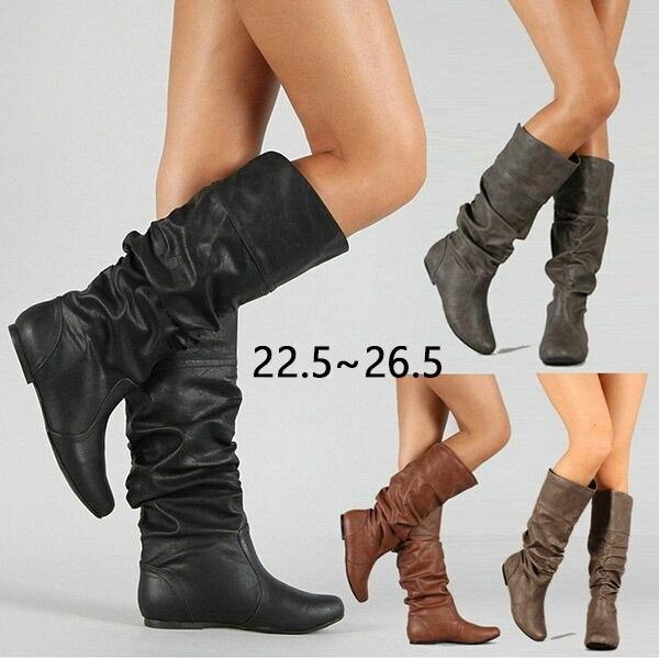 ミドルブーツ 厚底 ブーツ ロングブーツ くしゅくしゅブーツ ウエッジソール 美脚 カジュアル レディース 送料無料 一部地域を除く ファッション ブラックdf224y6y6f4 シューズ 20代 ブラック 40代 春 秋 30代 格安 冬 靴