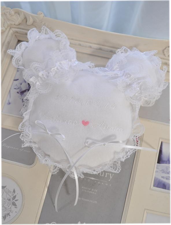 HappyWedding ☆ ウェディング リングピロ Luxury 信託 倉庫 リングピロークッション☆ミッキー型プリティリングピロークッション 披露宴 White