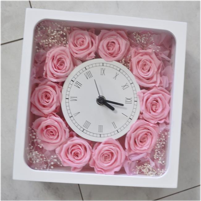 送料無料!花時計☆プリザーブドフラワー☆ピンク☆結婚祝いや新居祝いに