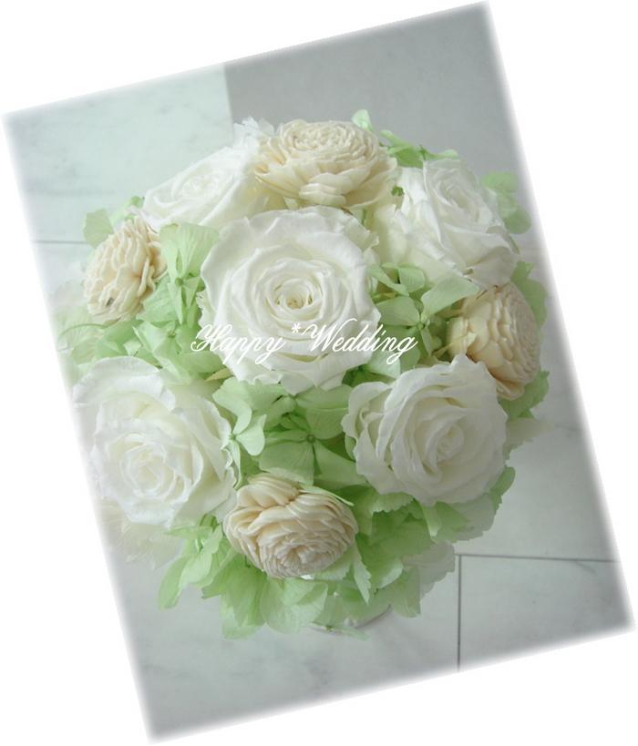 ピュアホワイトHAPPY*WEDDING☆ラウンドブーケBOUP223W