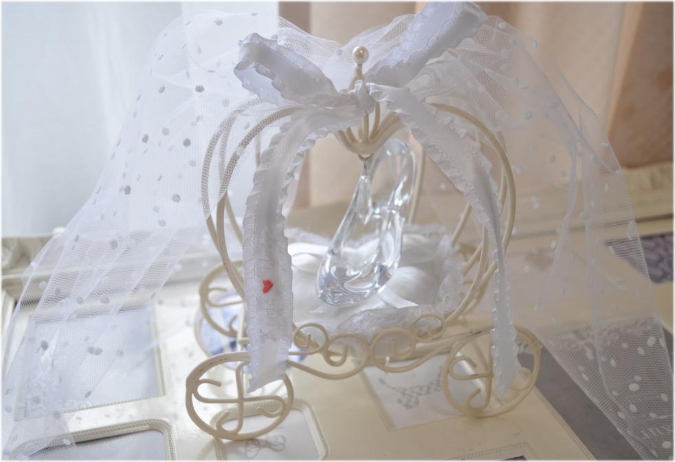 シンデレラのかぼちゃの馬車リングピローホワイト☆ガラスの靴☆ディズニーランド☆