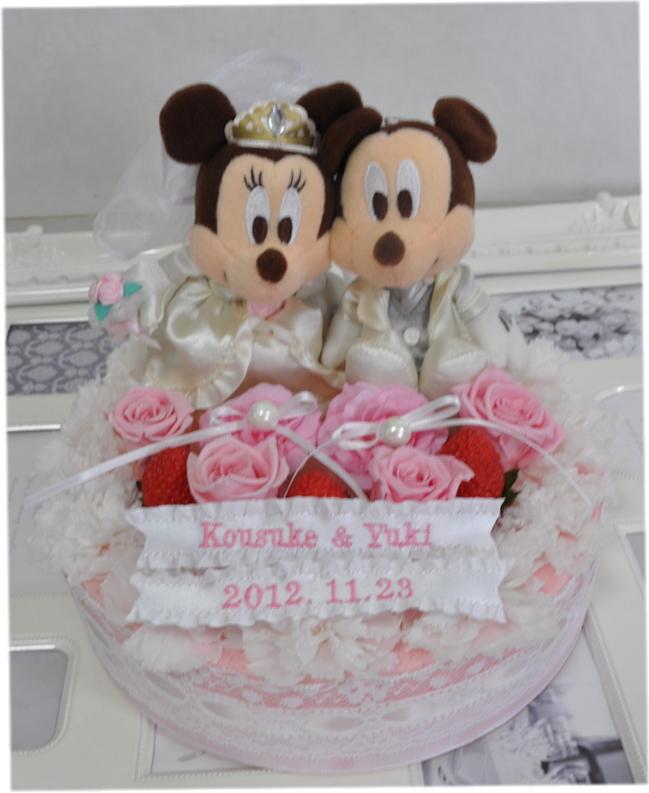 送料無料!プリザーブドフラワーケーキリングピロー☆ディズニー☆ミッキーとミニー