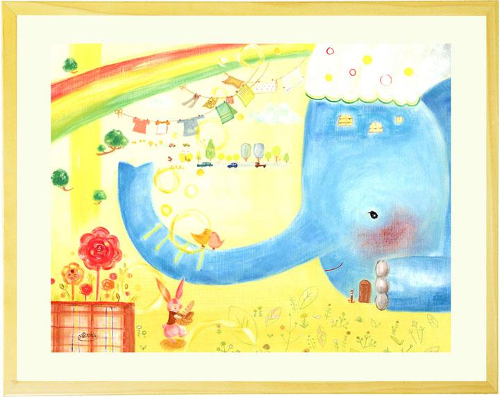動物 絵画 かわいい 「おはようってはじまる日常」■Mプラスサイズ ポエム ■ 額入り 額付き 絵 アートポスター リビング 部屋 額絵 1歳 誕生日プレゼント 女の子 子ども 子供部屋に飾る絵画 保育園 幼稚園 開園祝い 贈り物 ゾウ ウサギ 絵