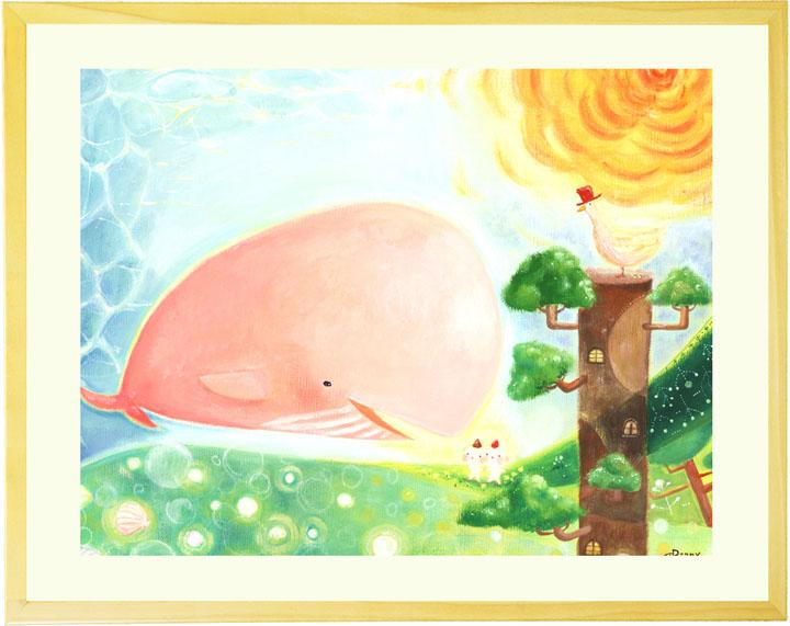 優しい絵画 インテリア アート 「大地の妖精と旅するクジラ」■Lサイズ・ポエム■ 玄関 リビングに飾る絵画 壁掛け アートフレーム アートポスター 額付き 部屋 絵 店舗 新築祝い プレゼント 贈り物 かわいい 額入り 額絵 海の絵 やさしい絵