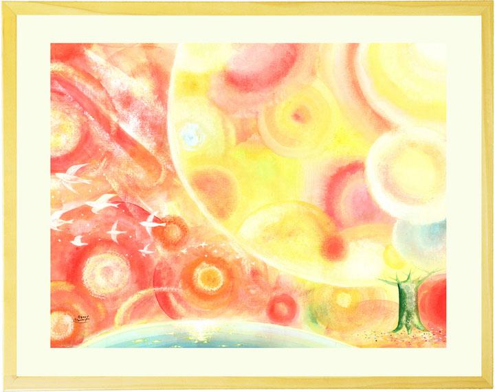絵画 インテリア 「縁(えん) ~すべての出逢いに感謝~」■Lサイズ・ポエム■ リビングに飾る絵画 玄関 アートポスター おしゃれ 壁掛け 絵 額入り 店舗 ウェルカムボード 事務所 オフィス 大きい カフェ風 部屋 応接室 美容室 北欧 抽象画