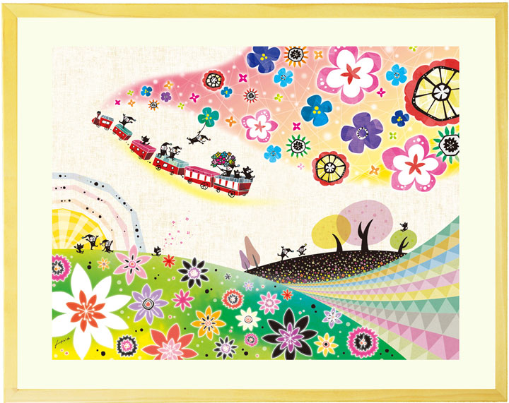シルエットアート 絵画インテリア 「明日へのおくりもの」■LLサイズ・ポエム■壁掛け 絵画 額入り 影絵風 玄関 リビングに飾る絵画 部屋 店舗 影絵風 かわいい 幸せの花 大きいサイズ 和みアート 壁飾り 詩画 ポエムカード付き 感謝の絵 壁