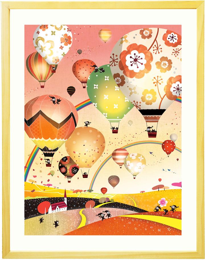 夜景 絵 夕暮れ 絵画アート「どこまでも どこまでも(イブニング)」■Mプラスサイズ・ポエム付■ 玄関に飾る絵画 壁掛け 壁飾り アートポスター 額付き 額入り リビング 店舗 熱気球 熱気球 空 風景画 金運 風水 黄色 ゴールド 黄金 夕暮れ 風水 インテリア バルーン