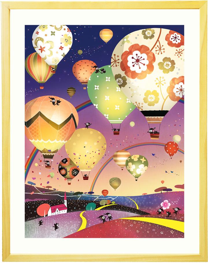 素敵な絵画 インテリア アート 「どこまでも どこまでも(ナイト)」■LLサイズ・ポエム付■ 寝室 壁掛け 絵画 壁飾り 空の風景画 夜景 夜空 玄関 アートポスター 額付き 額入り リビング 店舗 オフィス 病院 事務所 オフィス 花 熱気球 大きい絵 虹の絵画 気球の絵画