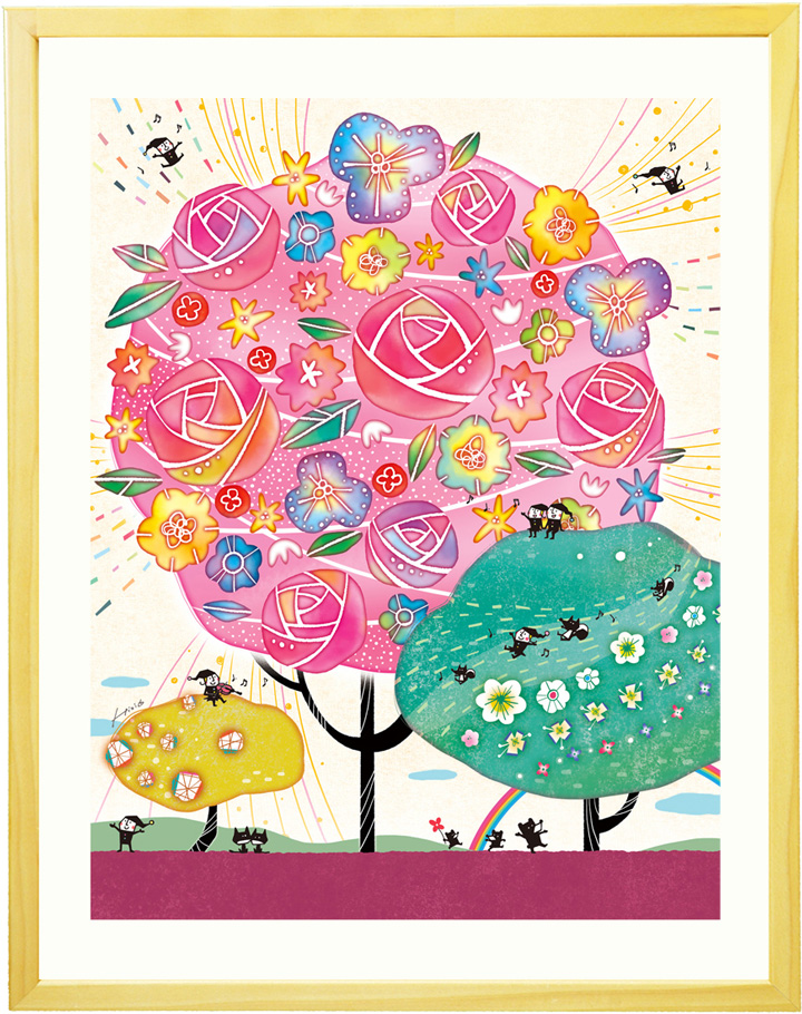 絵画 アート 「しあわせ花音(カノン)」■LLサイズ・ポエム付■額入り 額付き 部屋 店舗 オフィス 可愛い絵画 大きいサイズ