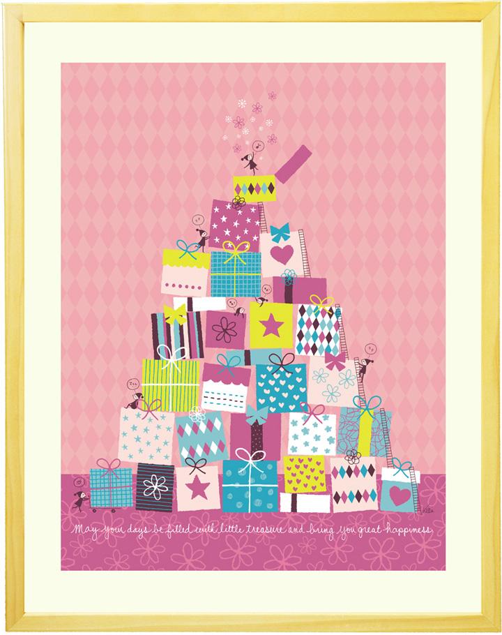 絵画 インテリア 欧風「ちいさな宝箱(ピンク)」■Mプラスサイズ・ポエム付■額入り 額付き アートポスター 北欧 玄関 リビング 部屋 店舗 事務所 病院 子供部屋 かわいい 外国風 プレゼント 贈り物 【あす楽対応】
