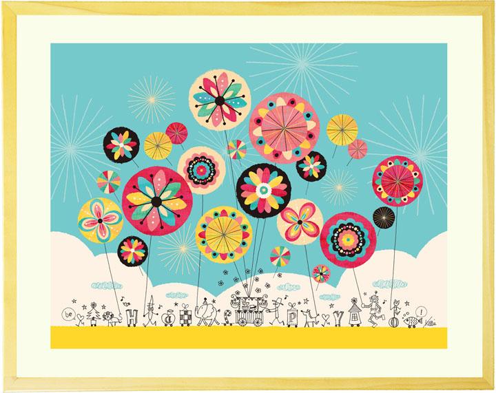 絵画 インテリア 「幸せのパレード」■Lサイズ・ポエム付■ リビングに飾る絵画 壁掛け 絵 玄関 風水 部屋 店舗に飾る絵 壁飾り 絵 おしゃれ アートポスター 北欧 インテリアアート パネル 額付き 空 明るい絵 額入り 子供部屋 インテリア かわいい 可愛い 風船 バルーン