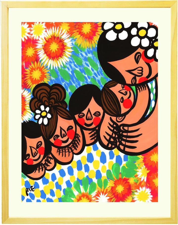 アジアン 絵画 インテリア「笑顔の花が咲きますように」■Mサイズ・ポエム付■元気が出る絵 玄関 リビングに飾る絵 プルメリア バリ島 南国 アートポスター アジアン インテリア 雑貨 癒しの絵 癒しグッズ 部屋 家族の絵 【あす楽対応】