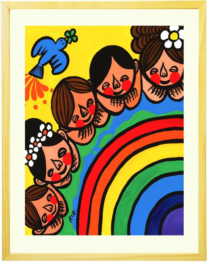 アジアン 絵画 インテリア「みんな一緒に幸せになろうよ」■Mサイズ・ポエム付■リビング 玄関 部屋 バリ島 南国 アートポスター アジアン インテリア 雑貨 癒しの絵画 癒しグッズ 家族 虹と地球 感謝の絵 青い鳥の絵