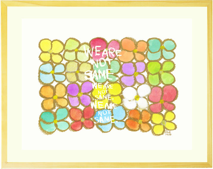 花の絵画 インテリア 壁掛け 「We are not same.」 ■Mサイズ・ポエム■ 玄関 リビング 北欧 幸せ 楽しい カラフル ポップ 虹色の花 インテリア 壁飾り アート 【あす楽対応】