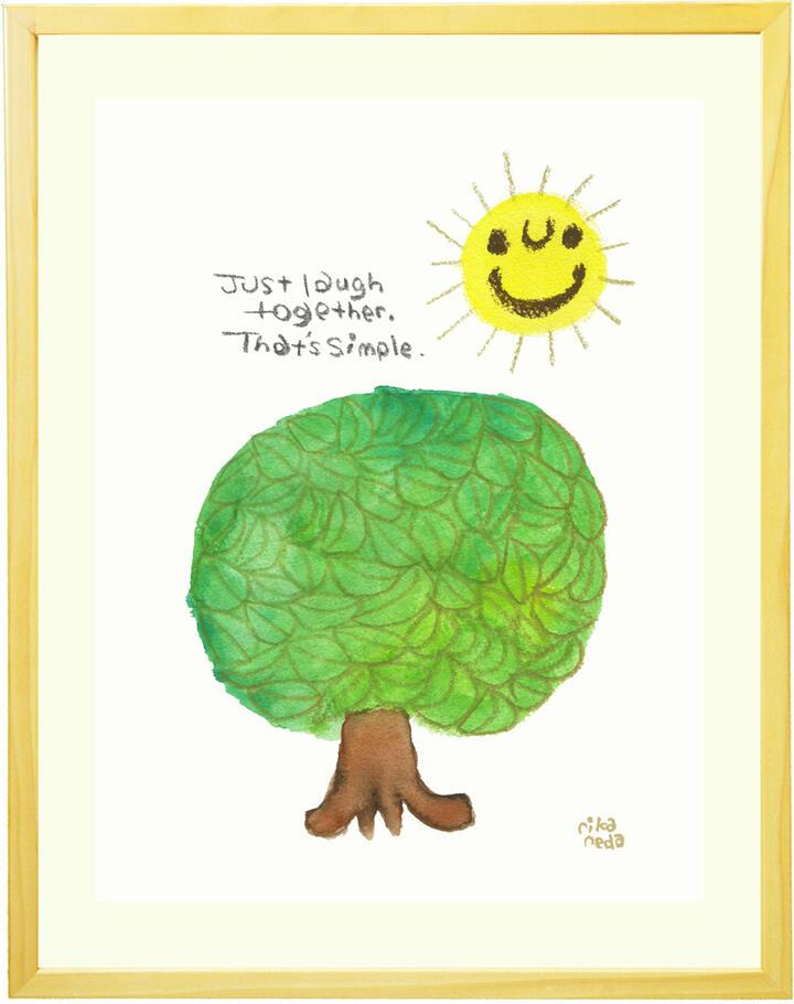 絵画 インテリア 「Laugh together ~ 一緒に笑おう ~」■Lサイズ・ポエム■玄関 リビング 部屋 幸せ 楽しい 笑顔 太陽の絵 木 アート 明るい絵 かわいい絵画 新築祝い 友人 【あす楽対応】