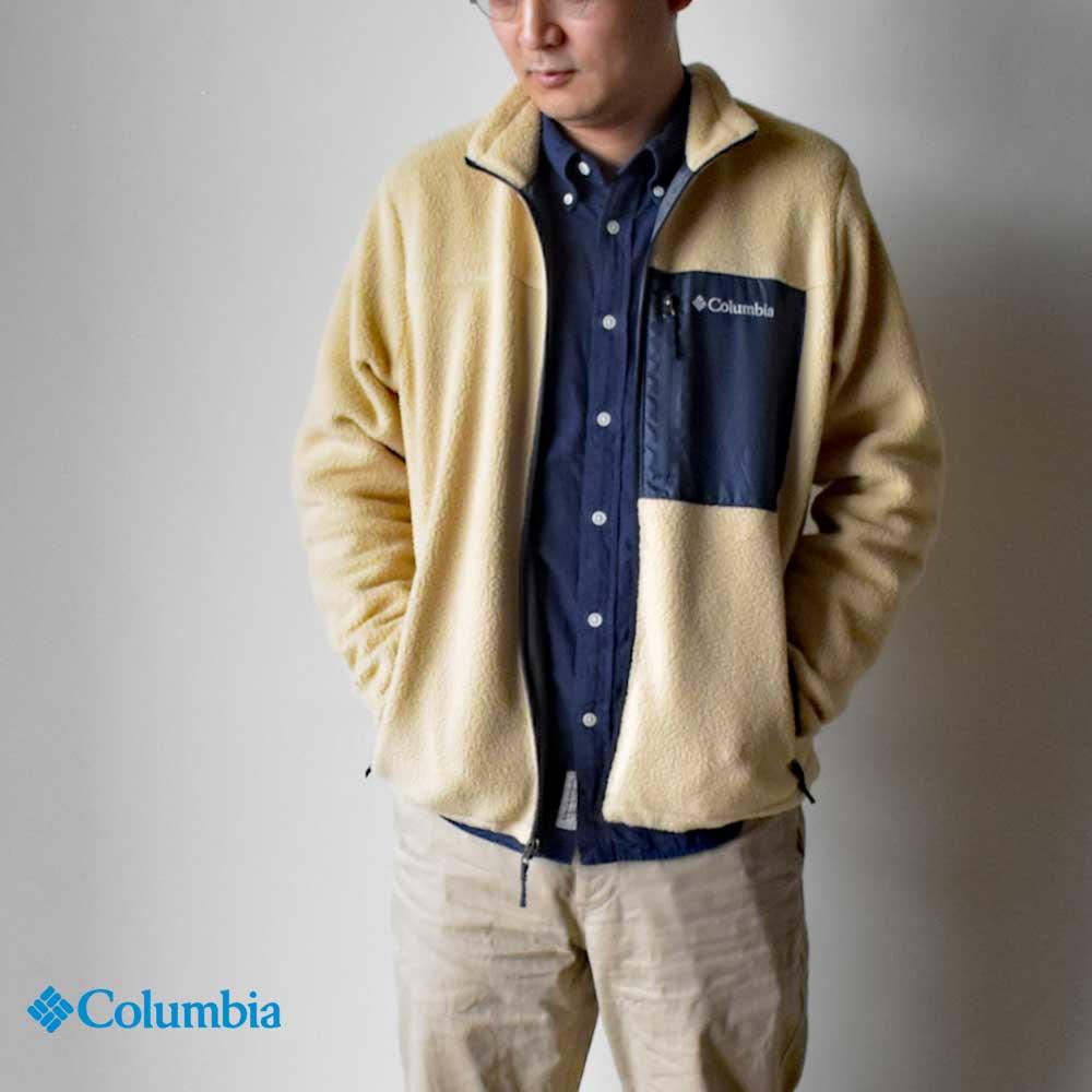 【Columbia】コロンビア Sugar Dome Jacket シュガードームジャケット メンズ PM1614 ジップアップ ボアジャケット ロゴ ポケット HAPTIC ハプティック