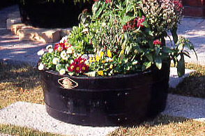 樹齢100年のオーク使用ウイスキー樽プランター 椀型50GB-5033※代引不可※