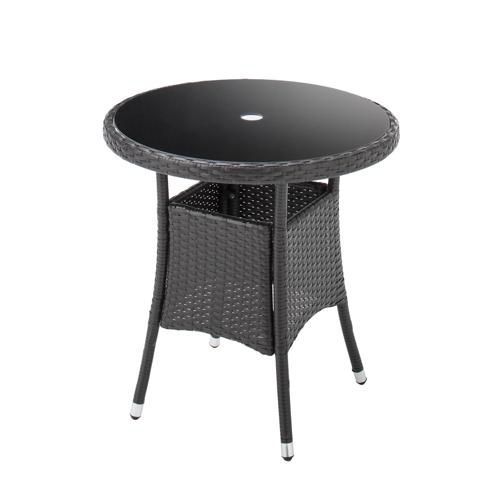 ガーデンテーブル 直径70cm 強化ガラス天板 パラソルホール付 机 Table 人工ラタン ウィッカー編み ガーデンファニチャー 32BT-T 選べる柄3タイプ 送料無料
