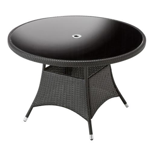 高級感抜群。大人の雰囲気あふれるシックなガーデンファニチャー ガーデンテーブル 直径110cm 強化ガラス天板 パラソルホール付 机 Table 人工ラタン ウィッカー編み ガーデンファニチャー 36BT-T 茶色 送料無料
