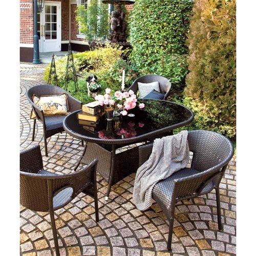 高級人工ラタン ガーデンチェア テーブル 5点セット ダークブラウン 人工ラタン ウィッカー ガーデンファニチャー 13BT-S5D 送料無料