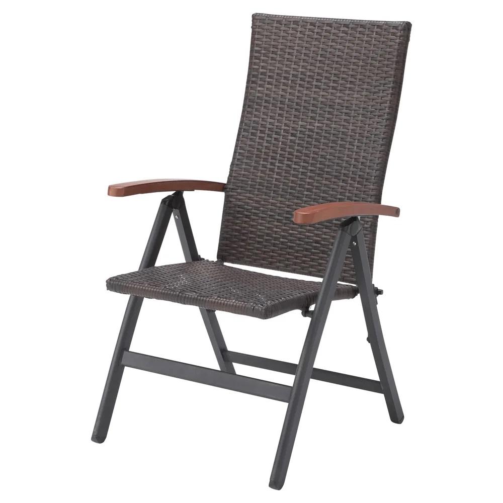 インテリア ガーデンチェア 椅子 Chair 手編み高級人工ラタン ウィッカー 折りたたみ ガーデンファニチャー BT742-C 送料無料