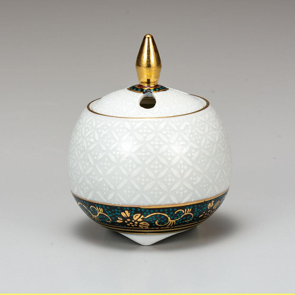 九谷焼 2.8号豆香炉 白七宝