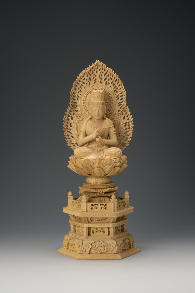 仏様 4年保証 仏像 仏壇 彫り 木製 本格 インテリア 置物 オブジェ 21-5 木彫 木彫り 本柘植六角台 2.5寸 二重火炎光背大日 送料無料でお届けします 仏像フィギュア