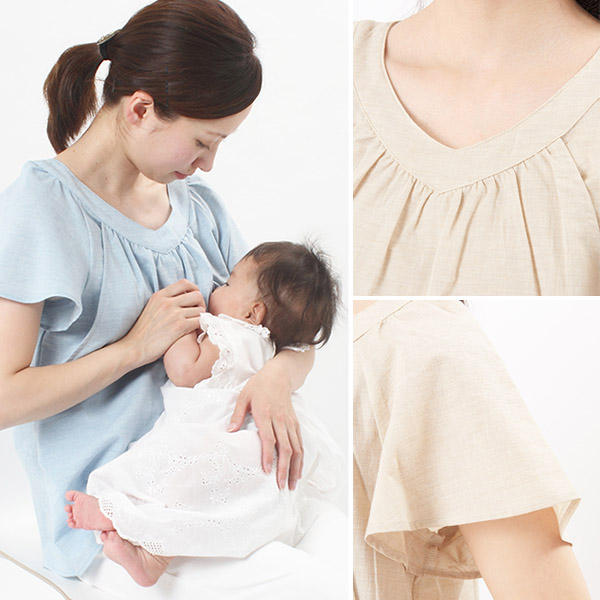 6a1fded4ee3 It is organic cotton nursing clothes (side slit type) gauze rustle Topps of  the mho house supporting mother's milk child care.