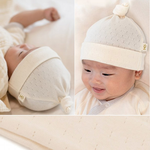 cofucu ( coughing ) organic cotton baby eyelet pattern mill closing Cap  natural (organic   cotton   children clothes   baby clothes   hats   knit  Cap ... 871e4f3f0129