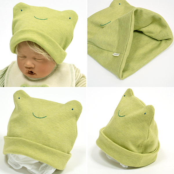 It is an organic cotton frog chief of pompkinsBABY (ポプキンズベビー). It is the baby  hat of